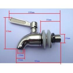 Кран металлический сливной, вход 16 мм
