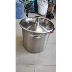 Куб 25 литров с выходом под кламп 1,5 дюйма, хомут, прокладка, крышка плоская кламп 1,5 и термометр электронный ТР101